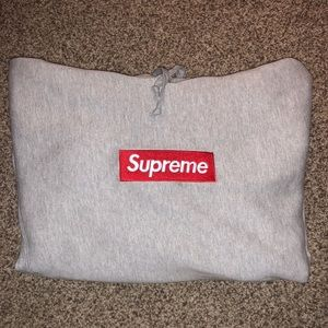 Supreme heather grey box logo hoodie